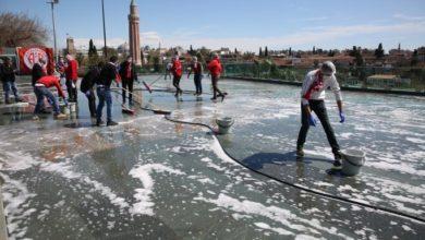 Antalya'da taraftar grubu meydanı temizledi